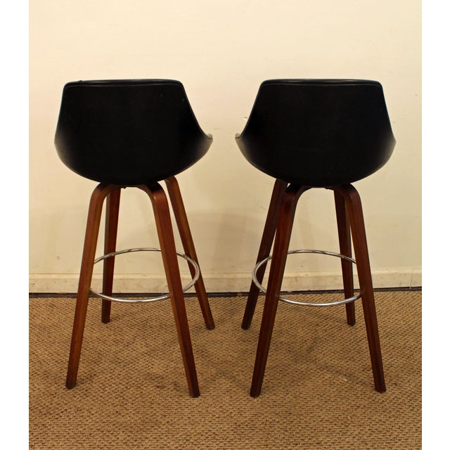 Mid-Century Chrome & Walnut Swivel Bar Stools - A Pair - Image 4 of 11