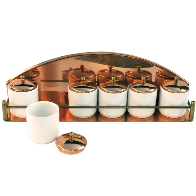 Vintage Copper Spice Rack & Canisters - Set of 7 - Image 1 of 8