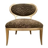 Image of Currey & Co. Gray Cut Velvet Leopard Print Bacall Chair For Sale