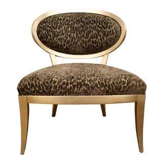 Currey & Co. Gray Cut Velvet Leopard Print Bacall Chair For Sale