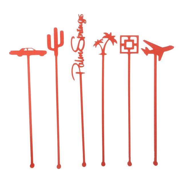 Coral Palm Springs Party Drink Stirrers - S/6 - Image 1 of 7