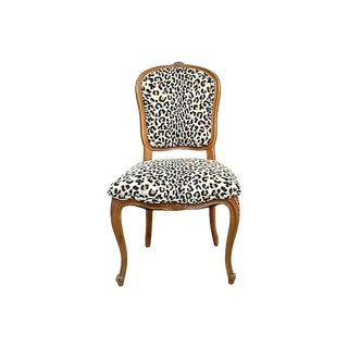 1900s Antique Leopard Upholstered Side Chair For Sale
