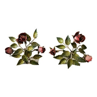 Vintage Italian Tole Pink Roses Bookends - A Pair