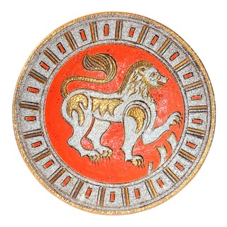 Vintage Italian Fratelli Fanciullaci Lion Platter For Sale