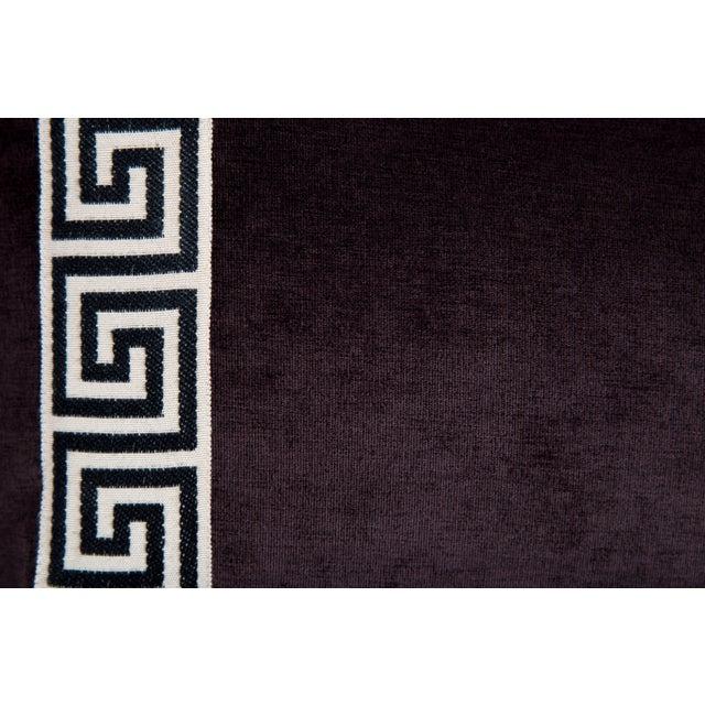 Hollywood Regency Eggplant Velvet Greek Key Lumbar Pillow For Sale - Image 3 of 4
