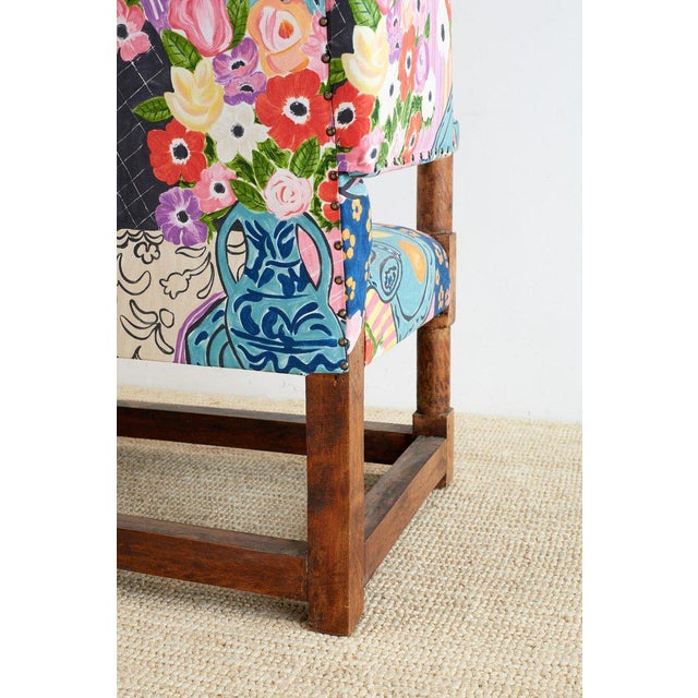 Fabric Antique English Winged Settee With Floral Upholstery For Sale - Image 7 of 13