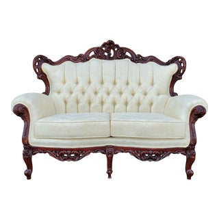 Vintage Baroque Victorian Carved Wood Loveseat For Sale