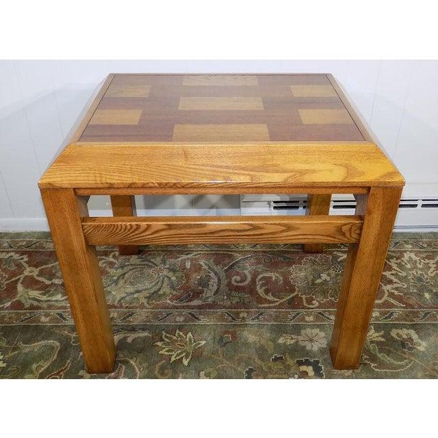 Oak Lane Oak & Walnut Parquet Top End Table For Sale - Image 7 of 12