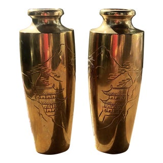 Vintage Asian Brass Vases With Engraved Pagoda Landscape Scene - a Pair For Sale