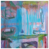 """Image of 1970s Vintage """"Pinks, Blues, Greens"""" Abstract Painting on Canvas For Sale"""
