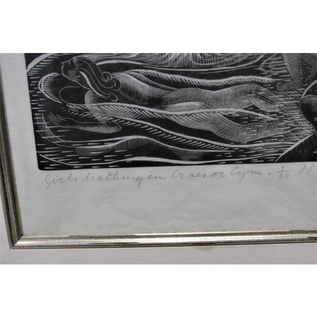 "American Art Deco Etching ""Girls Bathing in Craesor Gym"" 3/30 Ed by M. E. Groom 1920s For Sale - Image 4 of 13"