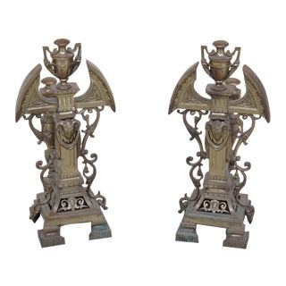 Antique French Brass Fireplace Andirons With Rams Head - a Pair