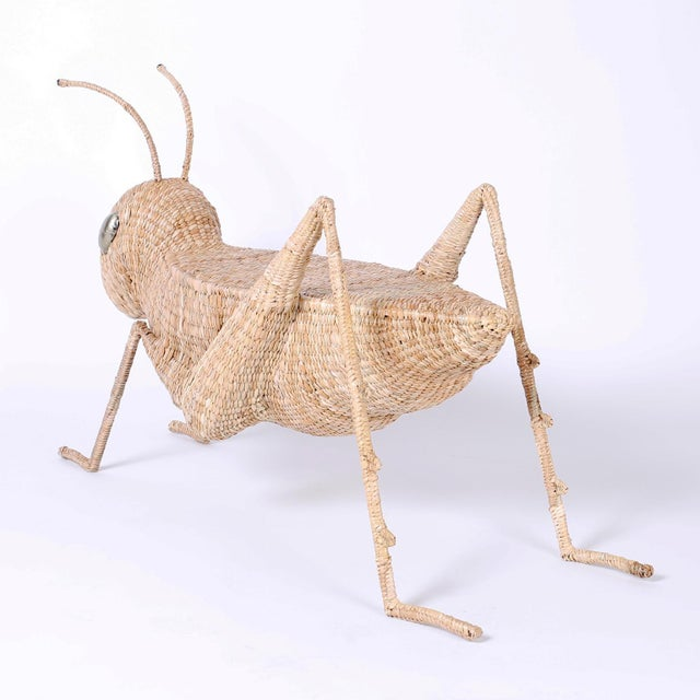 Midcentury Mario Torres Wicker Cricket Table, Pair Available For Sale In West Palm - Image 6 of 10