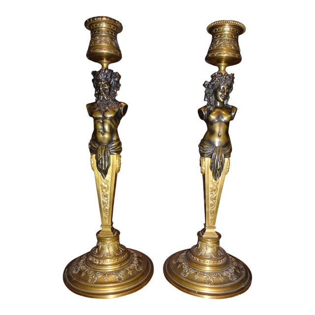 Pair of Bronze Louis Kley Candle Holders For Sale
