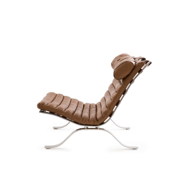 "Mid-Century Modern 1960s Arne Norell ""Ari"" Steel and Leather Lounge Chair For Sale - Image 3 of 6"