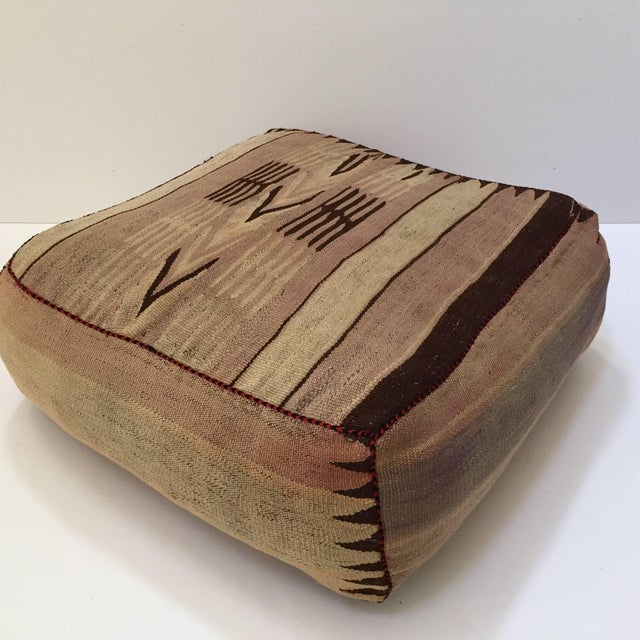 Moroccan Tribal Floor Pillow Seat Cushion Made From a Vintage Berber Rug For Sale - Image 13 of 13