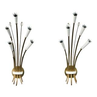 Italian Stilnovo Style Brass and Enamel Sconces - A Pair