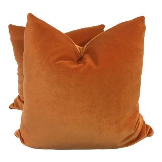"Bright Pumpkin Cotton Velvet 22"" Pillows-A Pair For Sale"