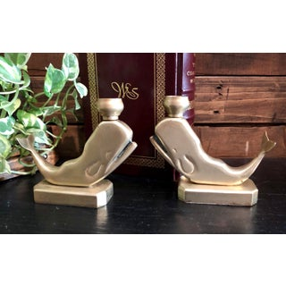 Vintage Brass Rare Shabby Chic Whale Candle Holders/ Paperweights - a Pair Preview