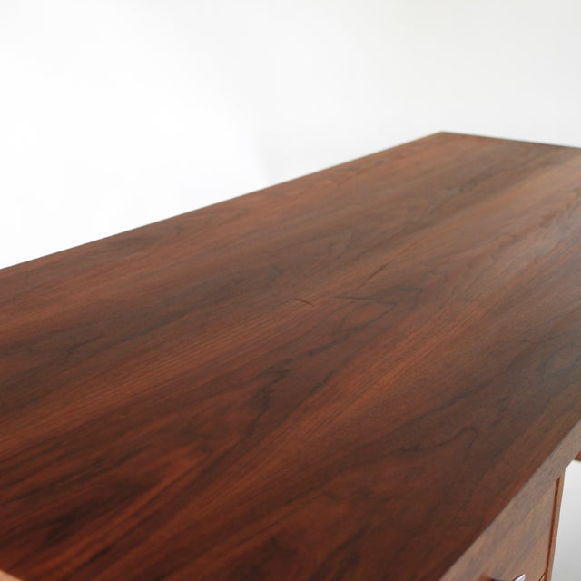 1950s Mid Century Modern Florence Knoll Style Walnut and Cane Desk For Sale In Charlotte - Image 6 of 13