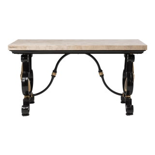 1970s Tessellated Stone and Iron Console Table With Brass Gazelles For Sale