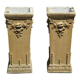 Vintage Cement French Victorian Tall Floral Pedestal Planter Pot Stands - a Pair For Sale