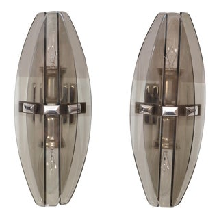 Fontana Arte Style Smoked Beveled Glass 2-Light Wall Sconce Italy 1960, Pair For Sale