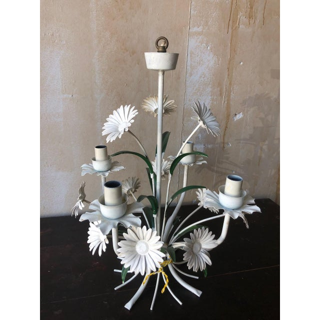 Italian Vintage Tole Chandelier With Daisies For Sale - Image 3 of 10