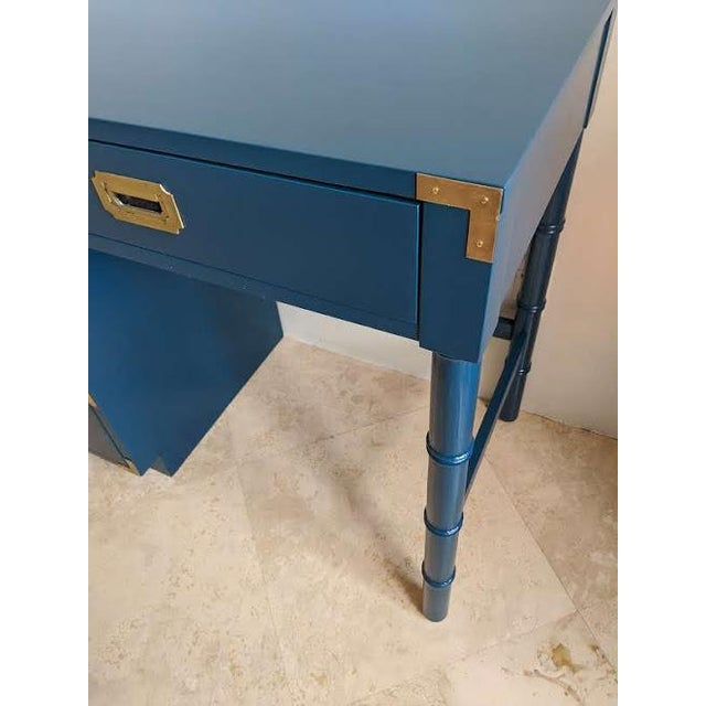 Dixie Furniture Co. 1970s Campaign Dixie Blue Gloss Desk For Sale - Image 4 of 10