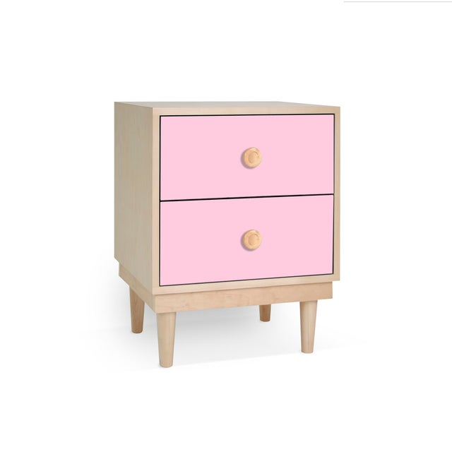 Contemporary Lukka Modern Kids 2-Drawer Nightstand in Maple With Pink Finish For Sale - Image 3 of 3