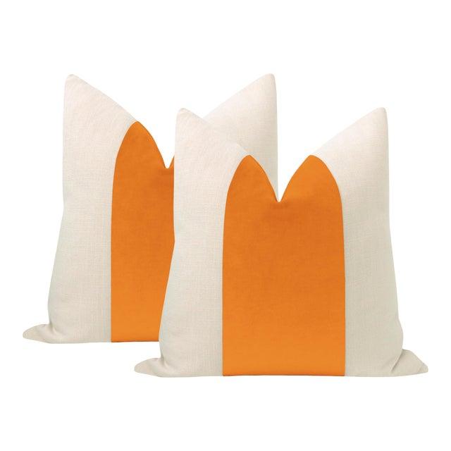 "22"" Clementine Velvet Panel + Linen Pillows - a Pair For Sale"