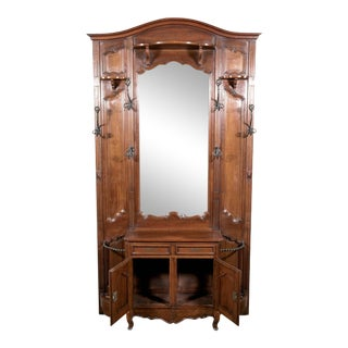 Grand 19th Century French Louis XV Style Walnut Hall Tree With Storage Cabinet For Sale