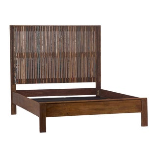 Reclaimed Wood Strip Queen Bed For Sale
