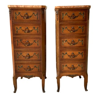 Pair of French Style Walnut & Marble Chest of Drawers by Johnson Handley Johnson C.1927 For Sale