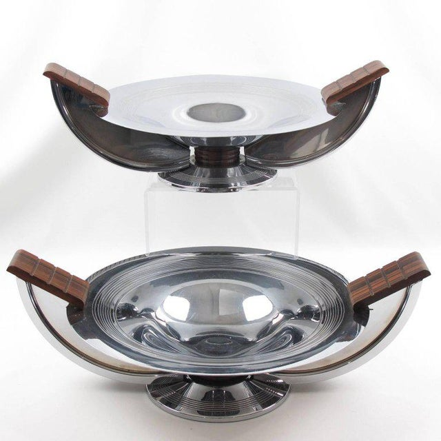 French Massabova Art Deco Chrome Macassar Centerpiece Bowl - Image 10 of 11