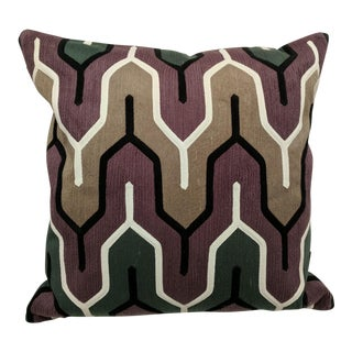 Contemporary Purple & Neutral Embroidered Accent Pillow For Sale
