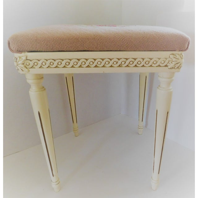 This charming little floral petit point side table/bench would add so much to your living room as an extra seat, bedroom...