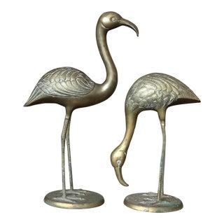 Brass Bird Statues - A Pair For Sale