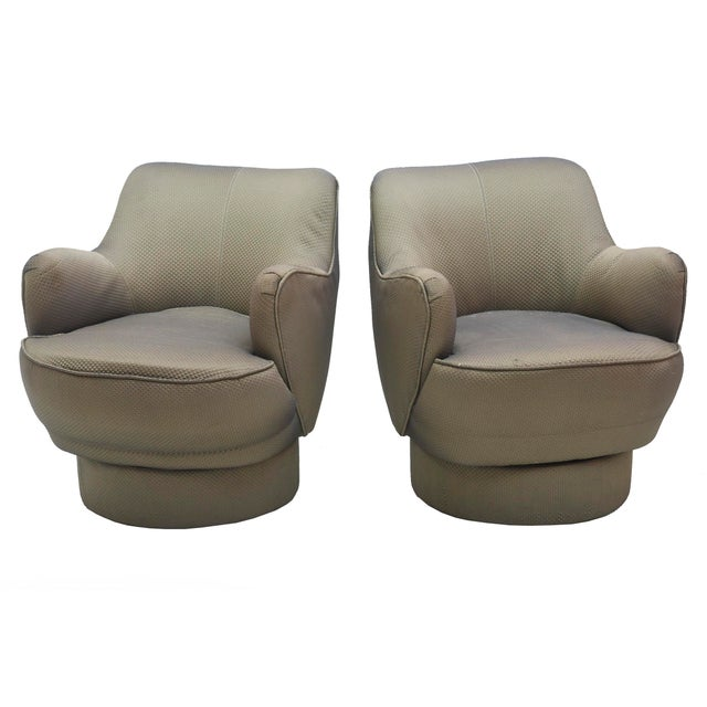 1970s Early and Rare American Modern Pair of Barrel Swivel Chairs, Vladimir Kagan For Sale - Image 5 of 10