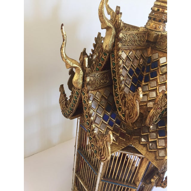 Glass Asian Spirit House Thai Shrine Temple Bird Cage For Sale - Image 7 of 12
