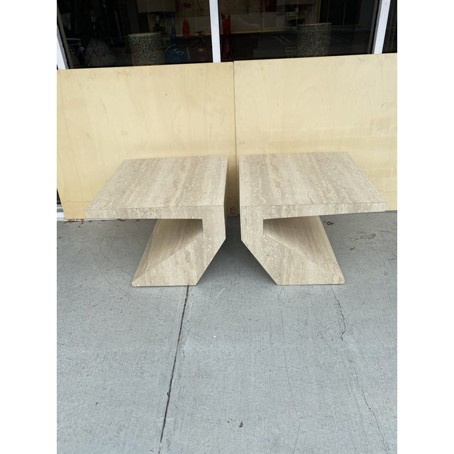 Faux Travertine Geometric Shapes Side Tables a Pair. For Sale - Image 13 of 13