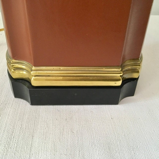 Vintage Brass and Brown Leather Tea Caddy Style Table Lamp For Sale - Image 9 of 11
