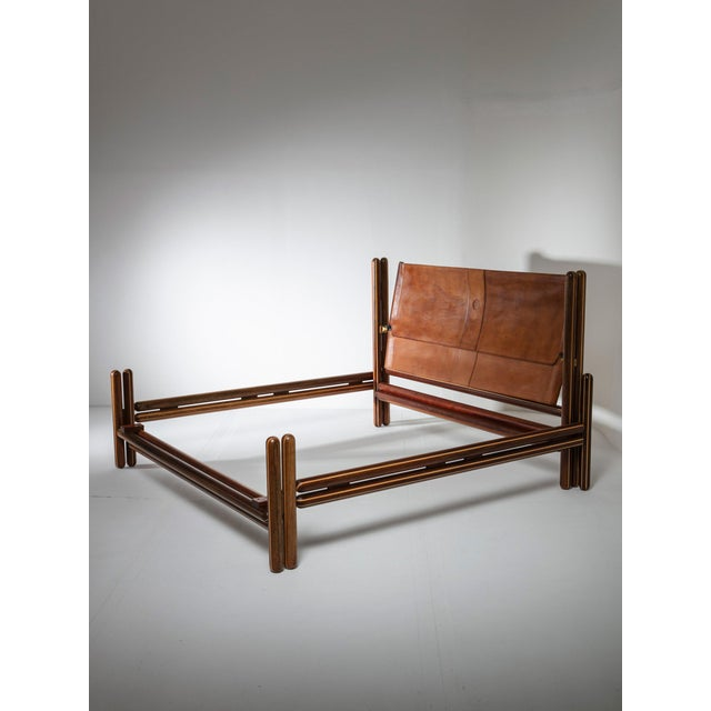 "Remarkable ""Toledo"" wood bed by Carlo Scarpa for Simon Gavina. Domestic scale architecture, ash and ebony wood frame and..."