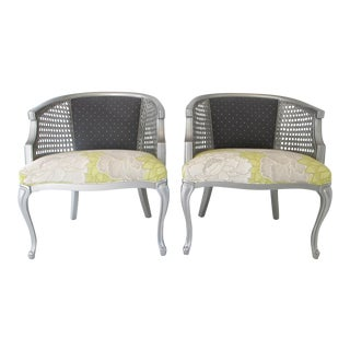 Pair of Refurbished Vintage Queen Anne Style Club Chairs For Sale