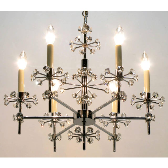 Gaetano Sciolari 1960s Six-Arm Crystal Snowflake Chrome Chandelier by Gaetano Sciolari For Sale - Image 4 of 7