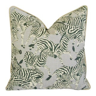 Designer Safari Zebra Linen & Velvet Pillow For Sale
