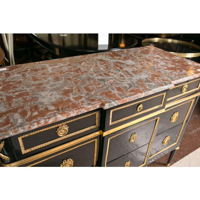 Maison Jansen Maison Jansen Marble-Top Ebonized Commode Heavy Bronze Mounts Louis XVI Style For Sale - Image 4 of 11