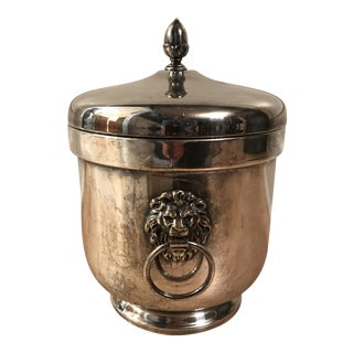 1980s Sliver Lion Head Ice Bucket For Sale