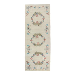 """1970s Vintage Oushak Floral Beige Wool and Cotton Hand Knotted Runner - 4' X 10'4"""" For Sale"""