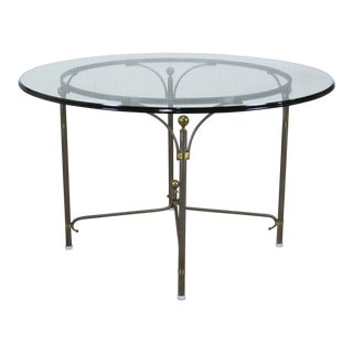 Campaign Style Glass Top Dining Room Table For Sale